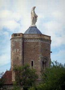 Autun - Ursulines tower topped by a statue of the Virgin