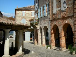 Auvillar - Tuscan columns of the circular corn exchange and arcaded houses of the Place de la Halle square