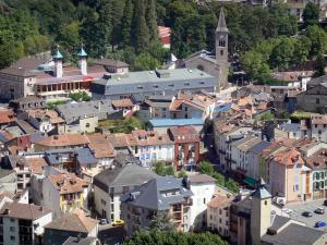 Ax-les-Thermes - View of the rooftops of the spa town and bell tower of the Saint-Vincent church