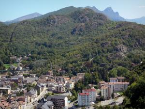 Ax-les-Thermes - View of the spa town and the mountains of the Ariège Pyrenees