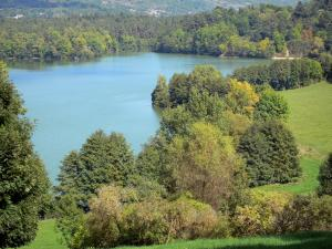 Aydat lake - Expanse of water with wooded banks (trees); in the Auvergne Volcanic Regional Nature Park