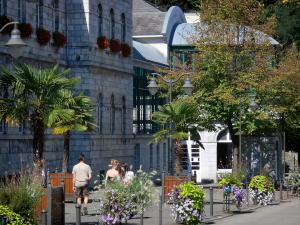 Bagnères-de-Bigorre - Spa town: thermal baths (Thermes), walkers, floral decorations (flowers) and palms in pots