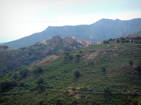 Balagne region - Hilltop village of Speloncato surrounded by hills and mountains