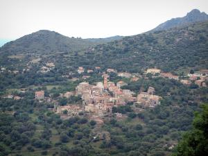 Balagne region - Hilltop village surrounded by trees and hills