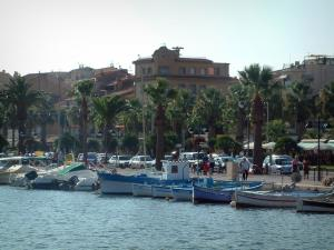 Bandol - Colourful boats in the port, walk lined with palm trees and houses of the seaside resort
