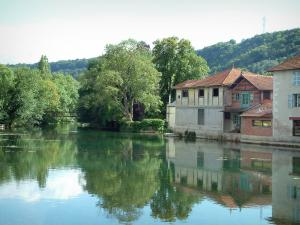 Bar-sur-Aube - Trees and houses of the city reflected in the waters of the River Aube