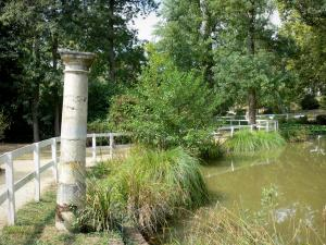Barbotan-les-Thermes - Spa town (in Cazaubon): Parc thermal spa garden (pond water, aquatic plants, column, alley and trees)