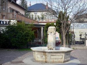 Barcelonnette - Fountain and houses of the city