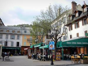 Barcelonnette - Houses, trees, lampposts and café terraces of the Manuel square
