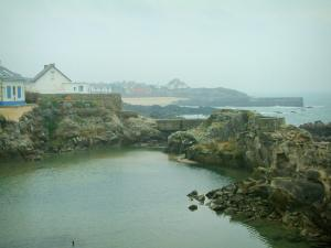 Batz-sur-Mer - Wild coast (côte sauvage), cliffs, houses and sea (Atlantic Ocean)