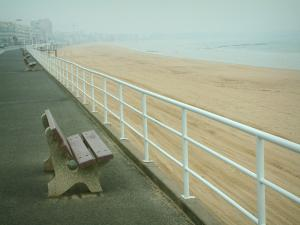 La Baule - Walk decorated with benches, sandy beach of the seaside resort and sea (Atlantic Ocean)