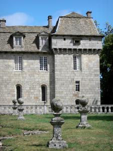 La Baume castle - Park and facade of the castle; in the town of Prinsuéjols
