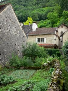 Baume-les-Messieurs - Vegetable garden, houses and trees