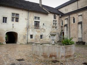 Baume-les-Messieurs - Abbey: fountain of the cloister's yard, abbatial building, arched passage and Saint-Pierre abbey church
