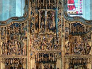 Baume-les-Messieurs - Abbey: details of the Flemish altarpiece of the Saint-Pierre abbey church