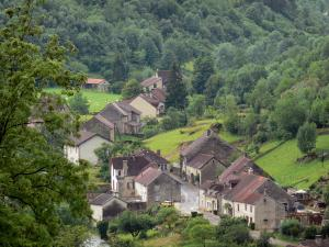 Baume-les-Messieurs - Houses of the village, prairies and trees