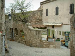 Les Baux De Provence   Street Paved With Restaurants And Souvenir Shop