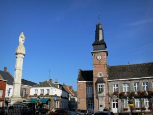 Bavay - Bell tower, town hall and houses; in the Avesnois Regional Nature Park