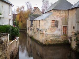 Bayeux - Houses by the River Aure and trees