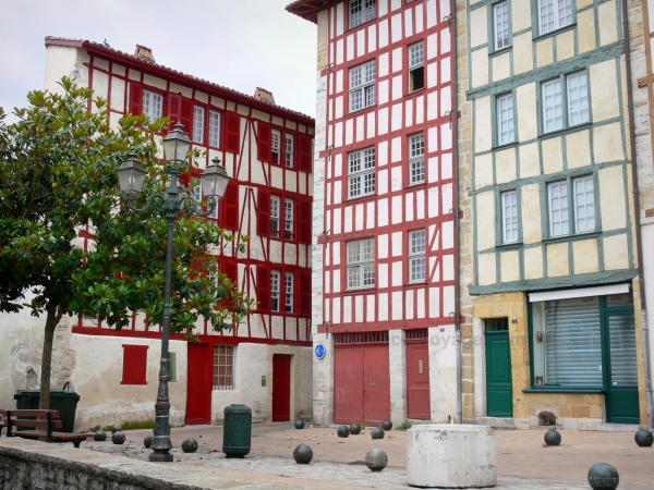 Bayonne - Colorful half-timbered house facades of the old town; in the Basque Country