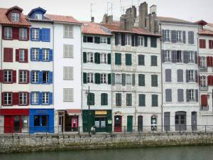 Bayonne - Facades of tall houses and shops on the Augustin Chaho quay along River Nive