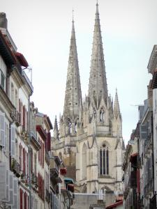Bayonne - Steeple of the Sainte-Marie cathedral and facades of the old town