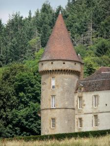 Bazoches castle - Former residence of Marshal Vauban: round tower and facade of the feudal castle; in the Morvan Regional Nature Park