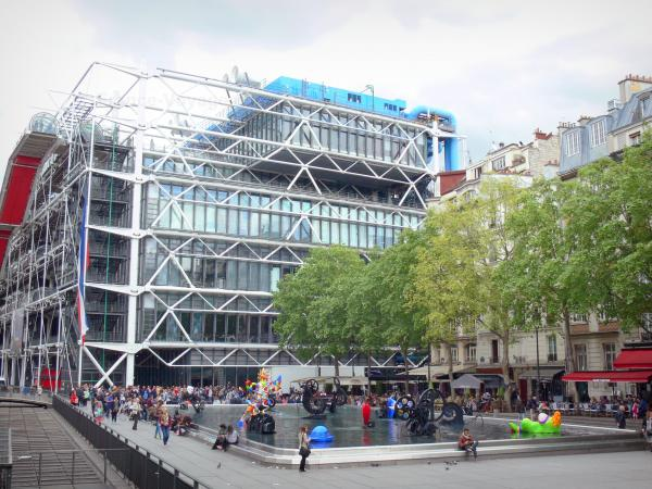 Beaubourg district - Georges Pompidou Centre and Place Stravinsky square with its automata fountain