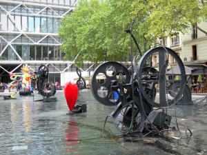 Beaubourg district - Fontaine Stravinsky and its automata; Georges Pompidou Centre in the background
