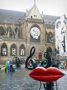 Beaubourg district - Saint-Merri church and automata fountain on the Stravinsky square