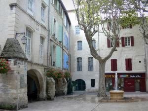 Beaucaire - République square with its fountain, its plane trees, its flowers (geraniums), its arcades and its houses