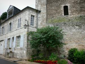 Beaugency - Keep (César tower), house, flowers and shrubs