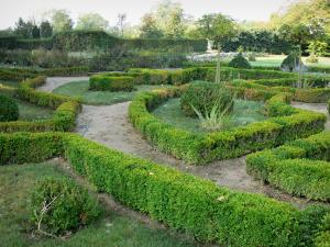 Beauvoir castle - Flowerbeds of the French-style formal garden; in the town of Saint-Pourçain-sur-Besbre, in Besbre valley