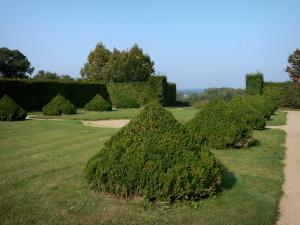 Beauvoir castle - Hand-clipped box hedges of the French-style formal garden; in the town of Saint-Pourçain-sur-Besbre, in Besbre valley