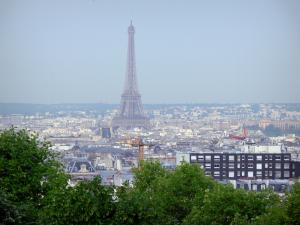 Belleville park - Panoramic view of the city of Paris and the Eiffel tower from the terrace of the park atop the Belleville hill