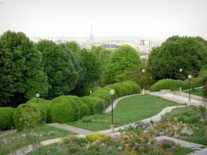 Belleville park - Panorama of the garden in bloom and the city of Paris with the Eiffel tower from the terrace of Belleville park