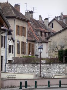 Belley - Facades of houses in the old town; in Lower Bugey