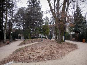 Belley - Park of the episcopal palace with trees; in Lower Bugey