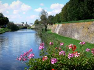 Bergues - Ramparts (fortifications, surrounding wall) of the fortified city, canal and geraniums (flowers) in foreground