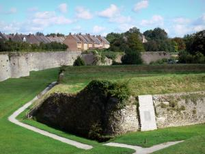 Bergues - Ramparts (fortifications, surrounding wall), houses of the fortified city and trees