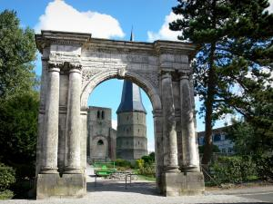 Bergues - Saint-Winoc abbey: marble door, pointed tower, square tower and trees