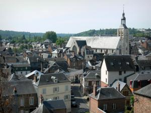 Bernay - View of the bell tower of the Sainte-Croix church and the roofs of the town