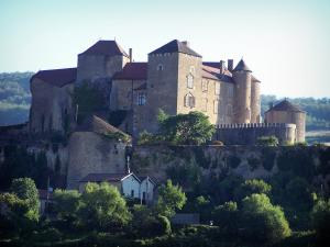 Berzé-le-Châtel castle - Medieval fortress (feudal castle) on its rocky mountain spur; in Mâconnais
