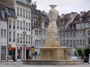 Besançon - Revolution square with its fountain and its houses