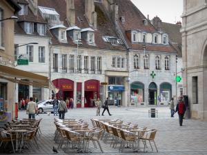 Besançon - Café terrace, houses and shops of the old town