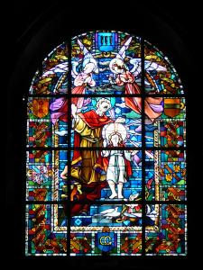 Besançon - Inside of the Saint-Jean cathedral: stained glass windows