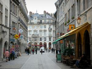 Besançon - Café terrace, shops and facades of the Battant street