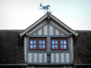 Beuvron-en-Auge - Attic window of a half-timbered house in the Pays d'Auge area