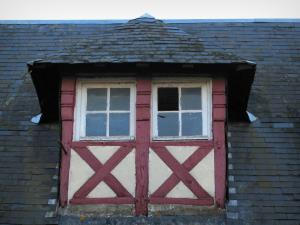 Beuvron-en-Auge - Attic window of a timber-framed house in the Pays d'Auge area