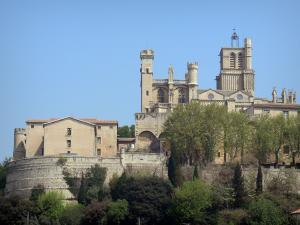 Béziers - Saint-Nazaire cathedral of Gothic style and trees
